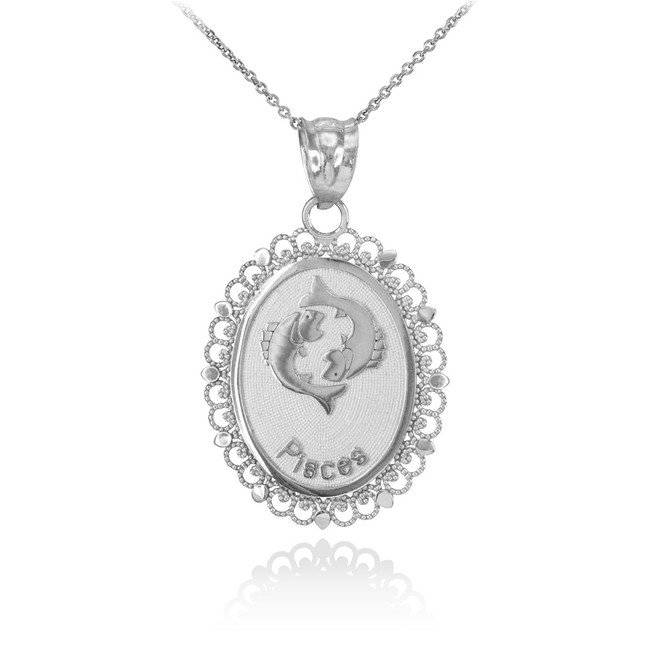 White Gold Pisces Zodiac Sign Filigree Oval Pendant Necklace