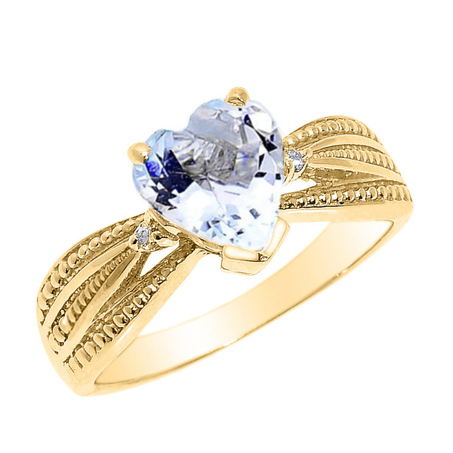 Beautiful Yellow Gold Aquamarine and Diamond Proposal Ring
