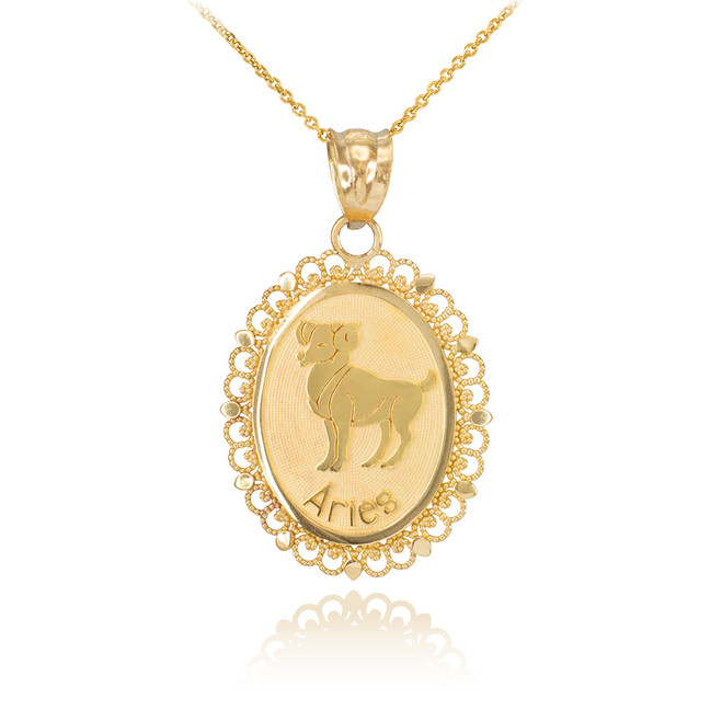 Polished Gold Aries Zodiac Sign Oval Pendant Necklace