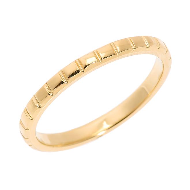 Yellow Gold Textured Thumb Ring