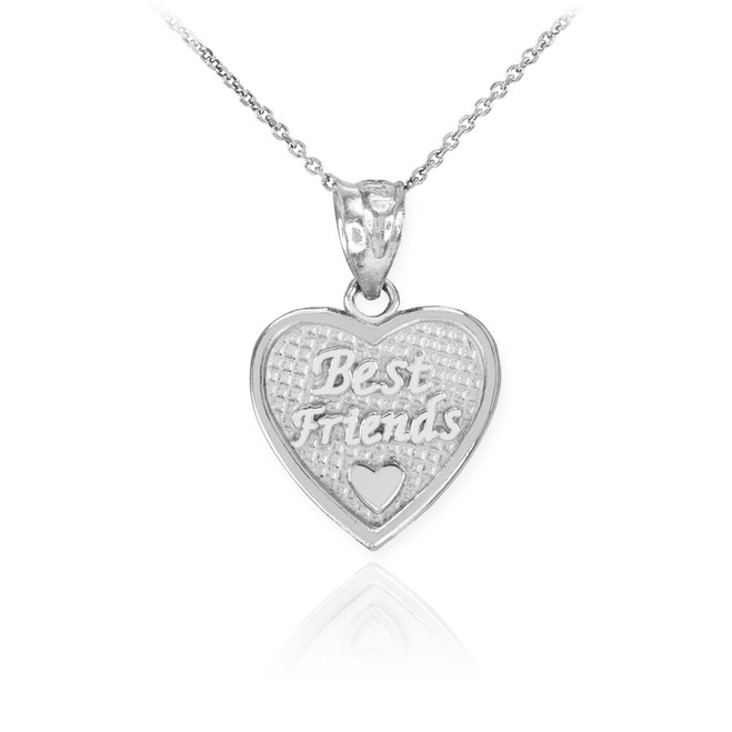 Sterling Silver 'Best Friends' Heart Charm Necklace