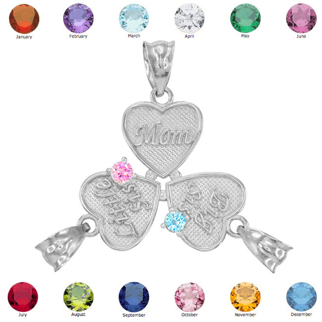 3pc White Gold 'Mom' 'Big Sis' 'Little Sis' Dual CZ Birthstone Heart Charm Set