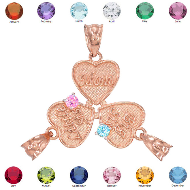 3pc Rose Gold 'Mom' 'Big Sis' 'Little Sis' Dual CZ Birthstone Heart Charm Set