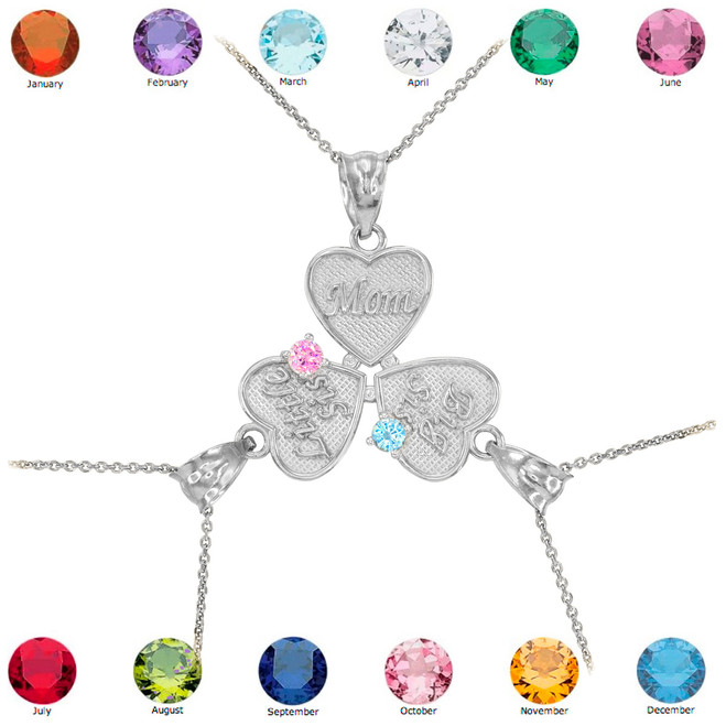 3pc Silver 'Mom' 'Big Sis' 'Little Sis' Dual Birthstone CZ Heart Necklace Set