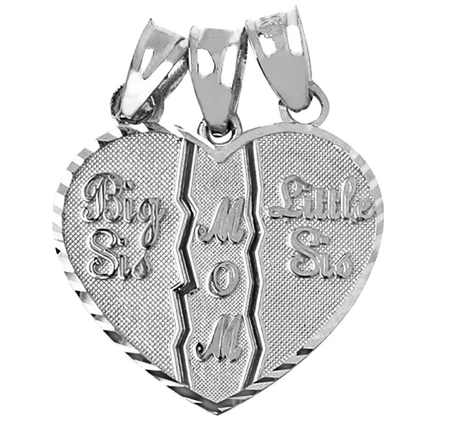 Big Sis, Little Sis, Mom 3 Piece Break Apart White Gold Pendant
