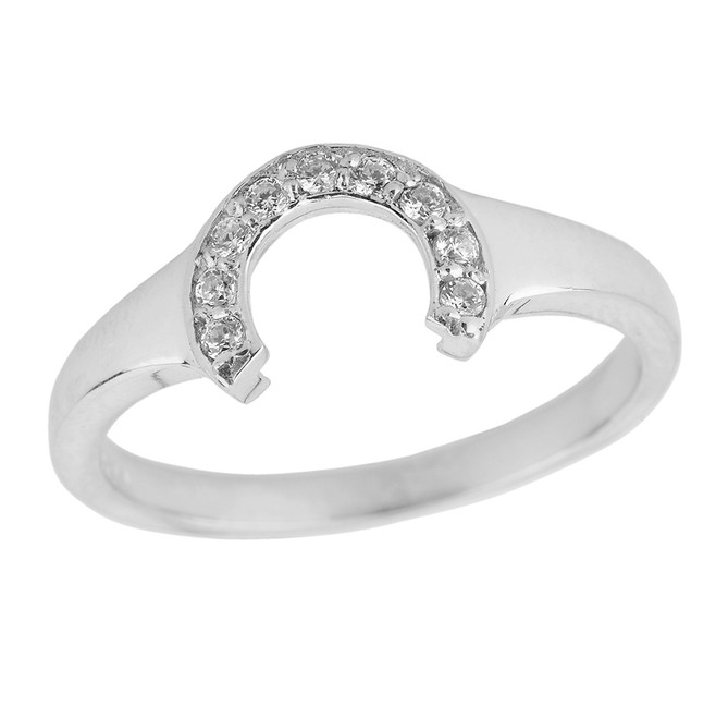 Ladies White Gold Diamonds Studded Lucky Horseshoe Ring
