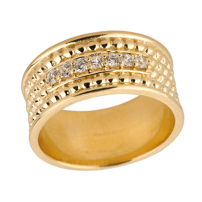 Yellow Gold Ball Chain Bead Diamond Anniversary Wedding Band