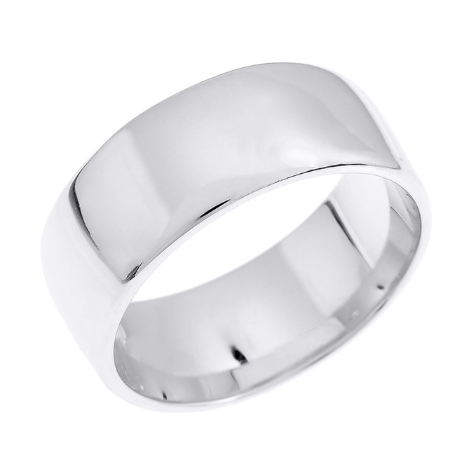 White Gold 8.0 mm Comfort Fit Classic Wedding Band