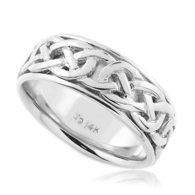 18k Two-Tone Gold Infinity Weave Inlay Celtic Knot Wedding Band