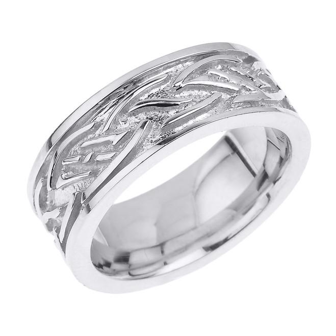 Solid White Gold Celtic Knot Unisex Wedding Band