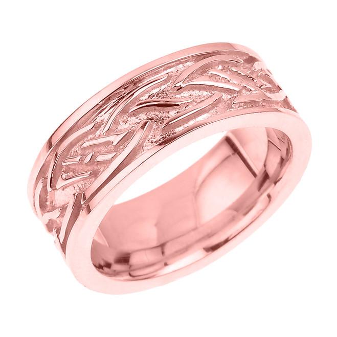 Solid Rose Gold Celtic Knot Unisex Wedding Band
