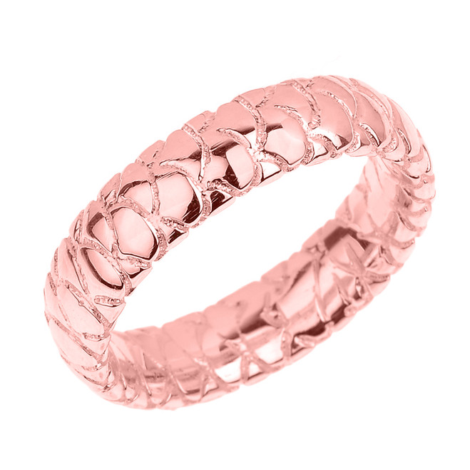 Rose Gold 5.5 MM Textured Unisex Wedding Band