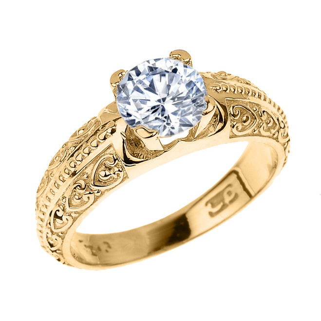 Yellow Gold Art Deco CZ Solitaire Engagement Ring