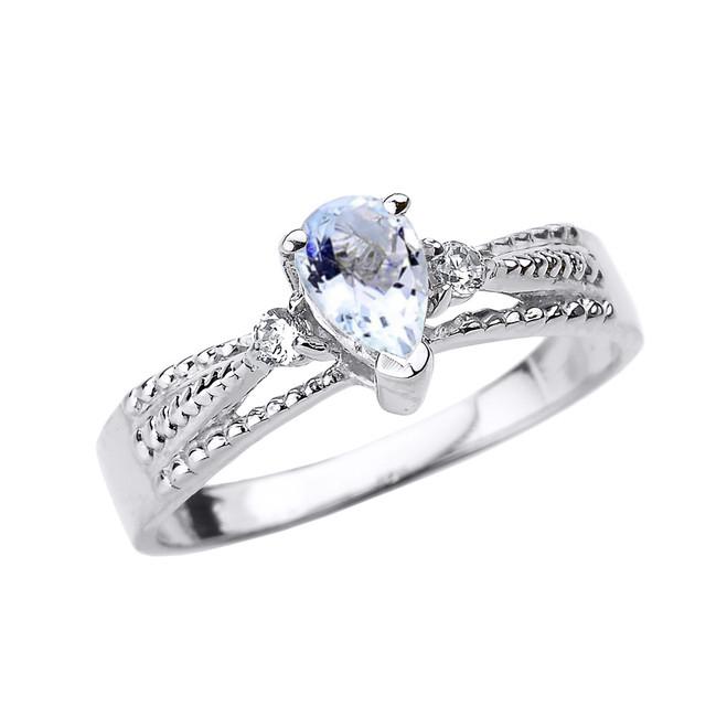 White Gold Aquamarine and Diamond Ladies Ring
