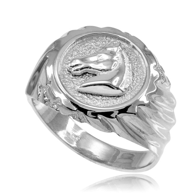 Silver Horse Head Men's Ring