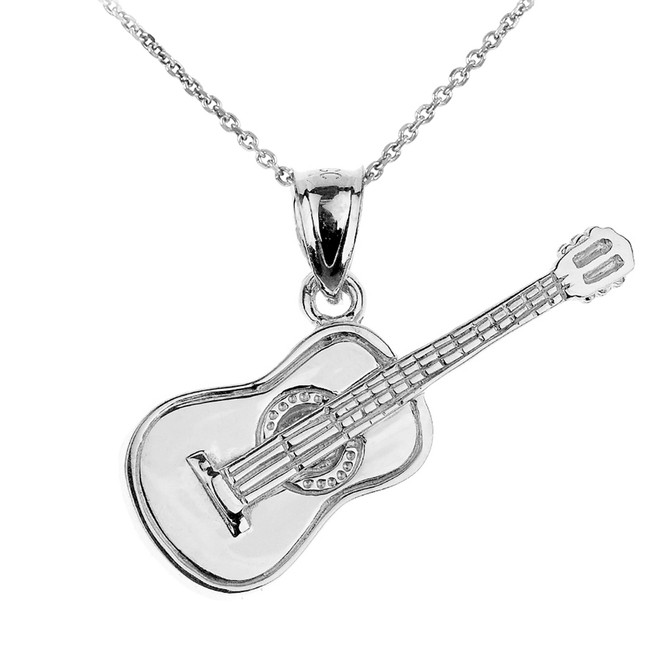 Sterling Silver Acoustic Guitar Pendant Necklace