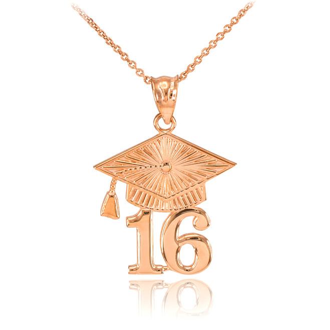 Rose Gold 2016 Class Graduation Pendant Necklace