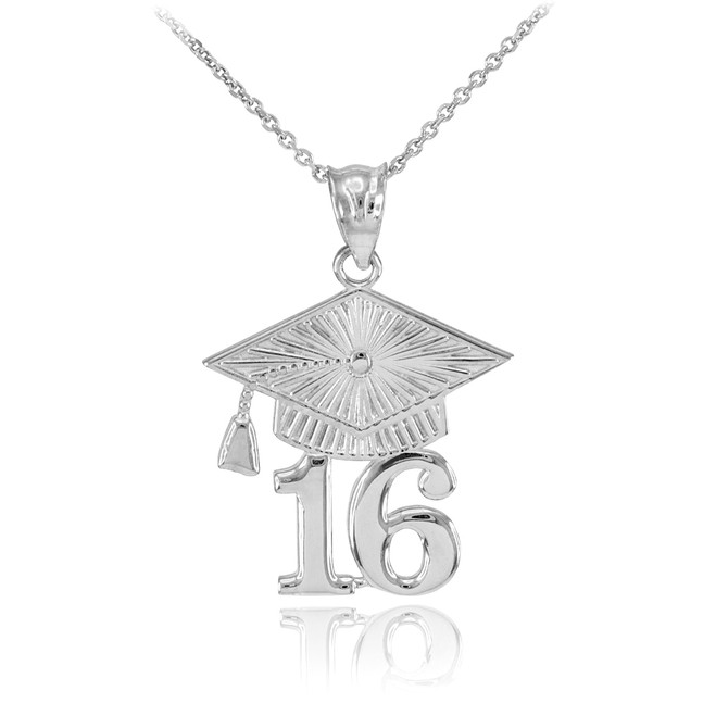 Silver 2016 Class Graduation Pendant Necklace