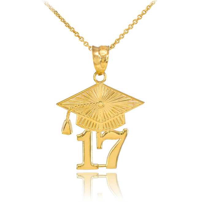 Gold 2017 Class Graduation Pendant Necklace