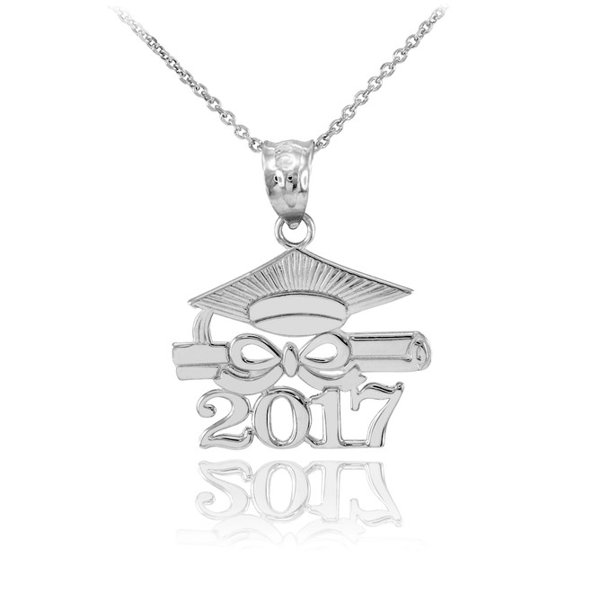Silver 'CLASS OF 2017' Graduation Pendant Necklace