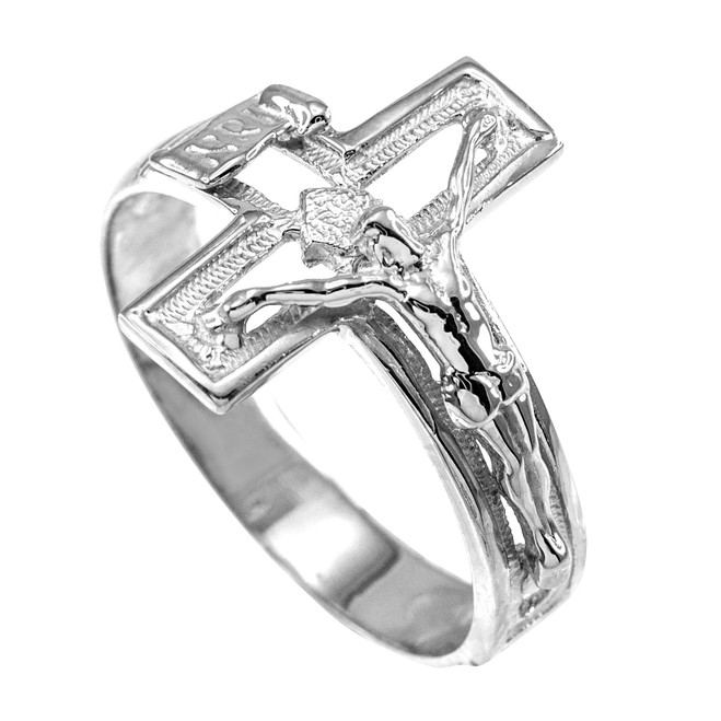 925 Sterling Silver Open Crucifix Cross Ring