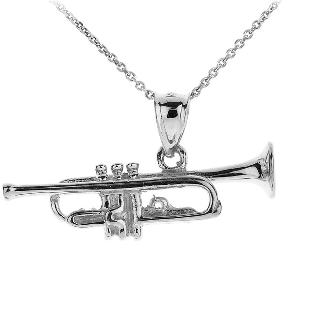 Silver Three Dimensional Trumpet Pendant Necklace