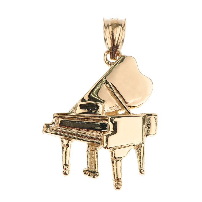 Gold Grand Piano Pendant Necklace