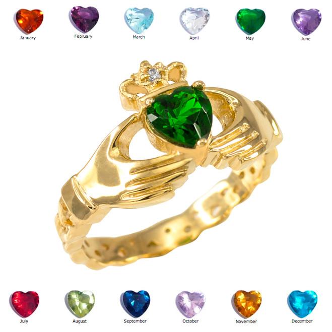 Gold Claddagh Diamond Crown Birthstone CZ Ring