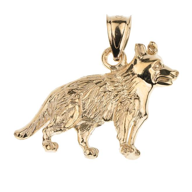 Gold German Shepherd K9 Dog Pendant Necklace