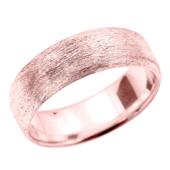 Rose Gold Satin Finished Unisex Wedding Band 7.2 MM