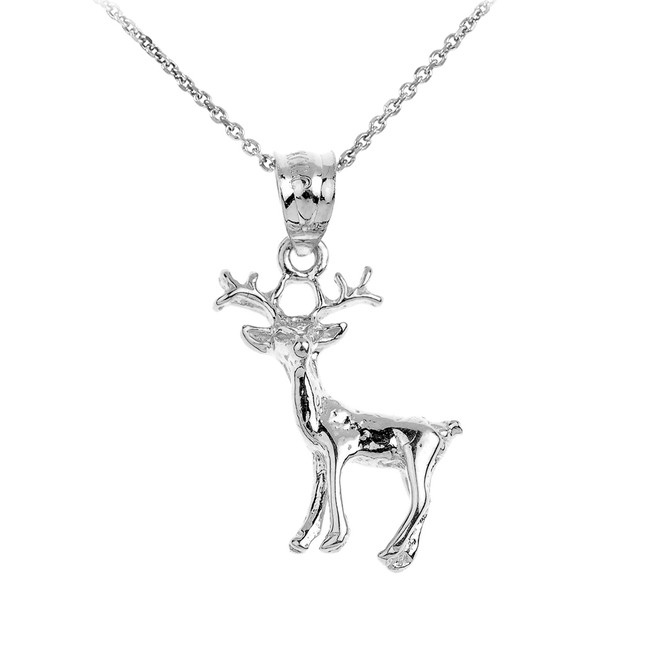 925 Sterling Silver Deer Charm Pendant Necklace