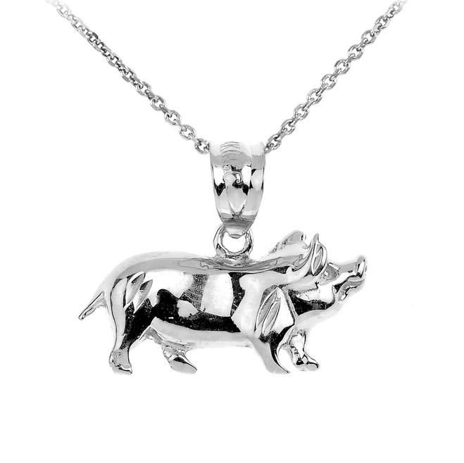 White Gold Charm Pig Pendant Necklace