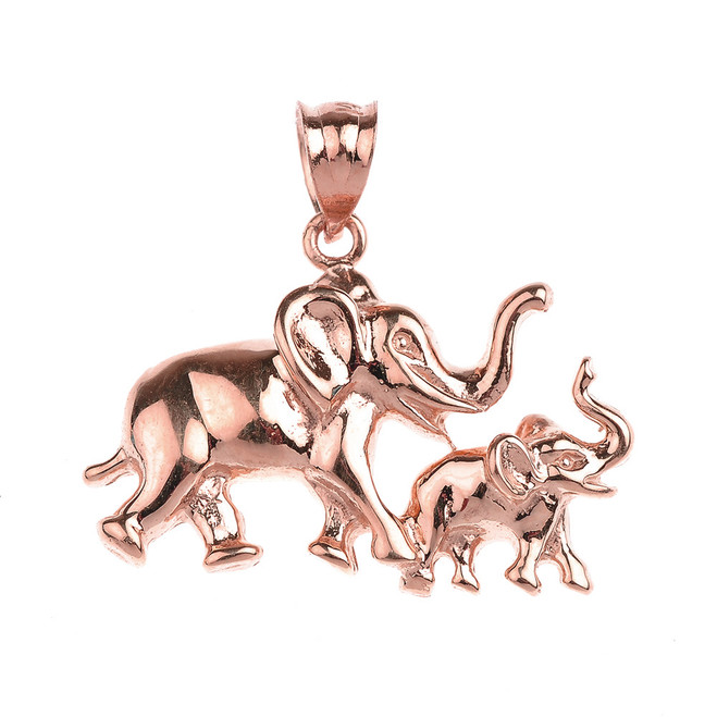 Rose Gold Mother and Child Elephant Pendant Necklace