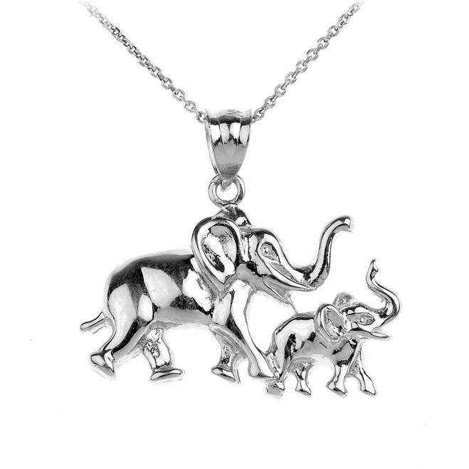 Silver Child and Mother Lucky Elephant Pendant Necklace