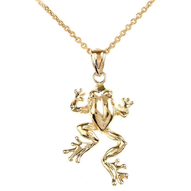 Polished Yellow Gold Frog Pendant Necklace