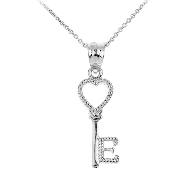 Sterling Silver Heart Key Pendant Necklace