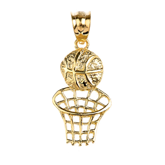 Gold Basketball Hoop Sports Pendant