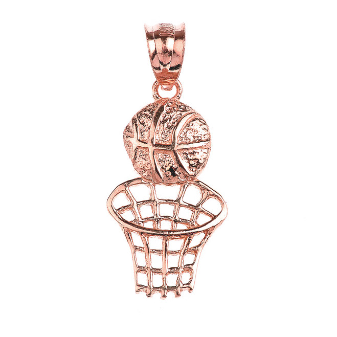 Rose Gold Basketball Hoop Sports Pendant