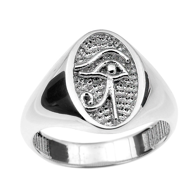 White Gold Eye of Horus Ring