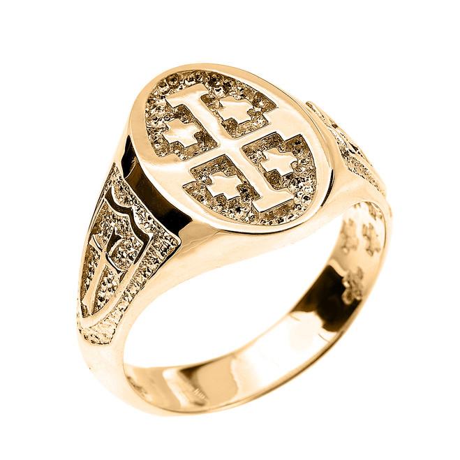 Yellow Gold Jerusalem Cross Unisex Ring