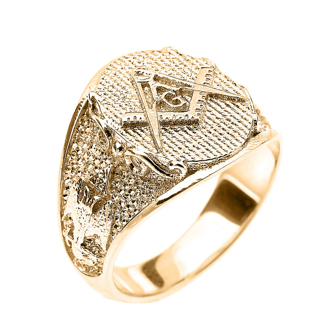 Solid Yellow Gold Masonic Men's Ring Scottish Rite