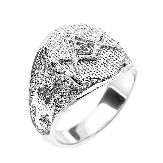 Solid White Gold Masonic Men's Ring Scottish Rite