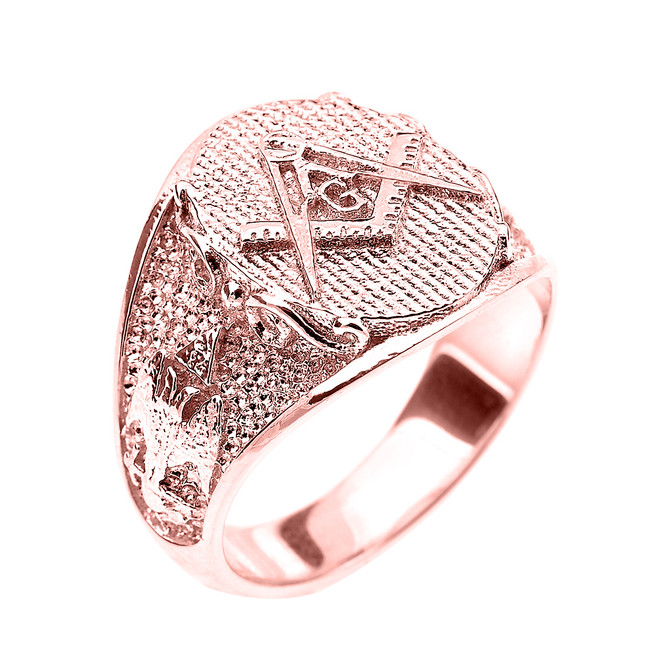 Solid Rose Gold Masonic Men's Ring Scottish Rite