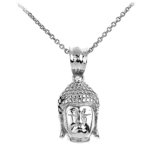 Buddha Head Pendant Necklace in White Gold