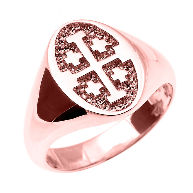 Solid Rose Gold Jerusalem Cross Unisex Ring