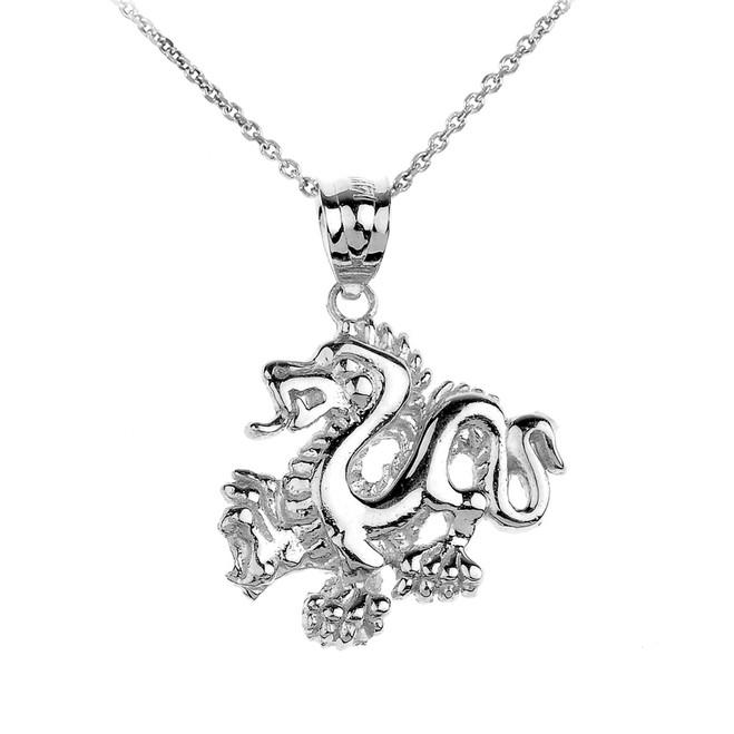 White Gold Dragon Charm Pendant Necklace