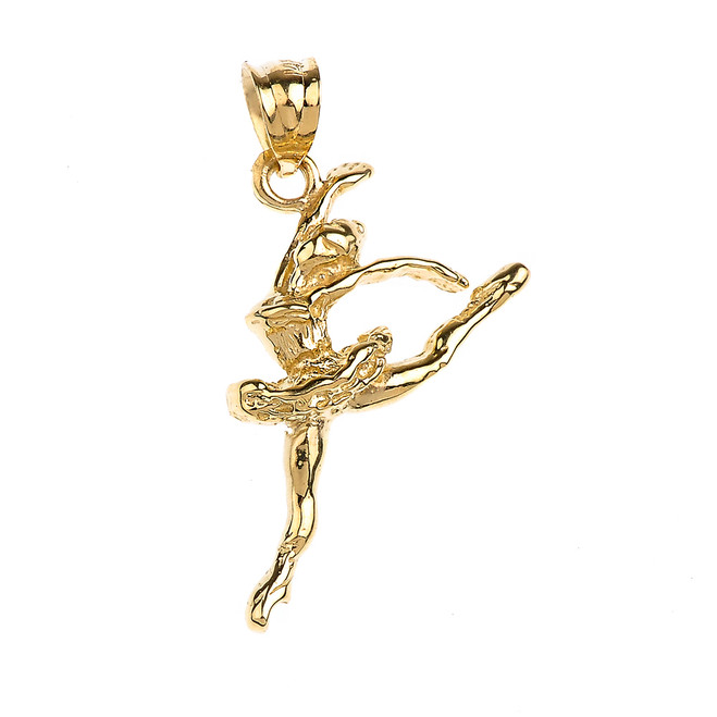 Gold Ballet Dancer Charm Pendant Necklace
