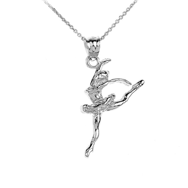 White Gold Ballet Dancer Charm Pendant-Necklace