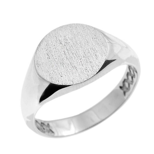 Solid White Gold 12 MM Round Engravable Men's Signet Ring