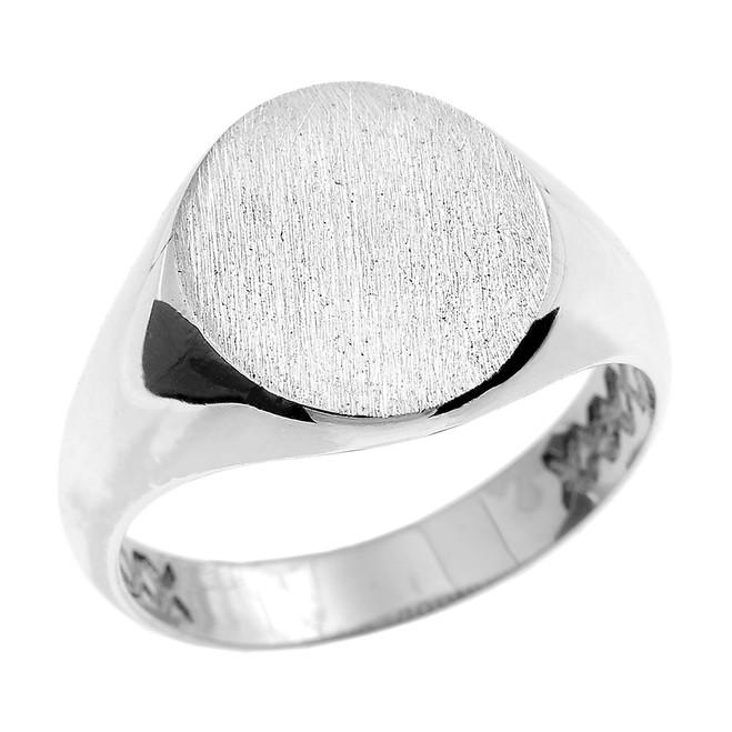 White Gold Oval Engravable Men's Signet Ring